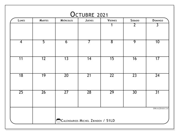 Calendario octubre 2021, 51LD. Almanaque para imprimir gratis.