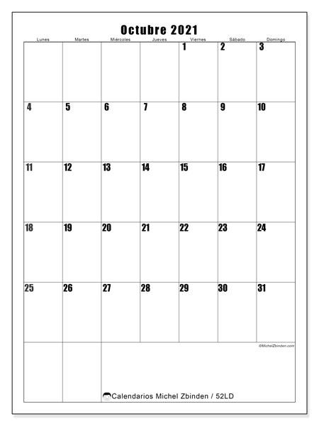 Calendario octubre 2021, 52LD. Calendario para el mes para imprimir gratis.