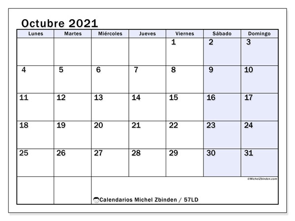 Calendario octubre 2021, 57LD. Calendario para imprimir gratis.