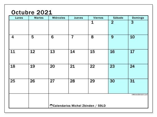 Calendario octubre 2021, 59LD. Calendario mensual para imprimir gratis.