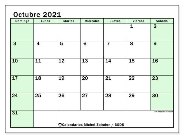 Calendario octubre 2021, 60DS. Almanaque para imprimir gratis.