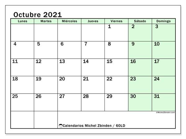 Calendario octubre 2021, 60LD. Calendario mensual para imprimir gratis.