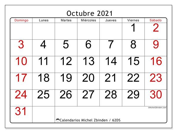 """Calendario De Octubre 2021 Calendario """"62DS"""" octubre de 2021 para imprimir   Michel Zbinden ES"""