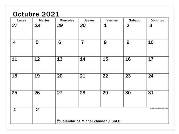 Calendario octubre 2021, 66LD. Calendario imprimible gratis.