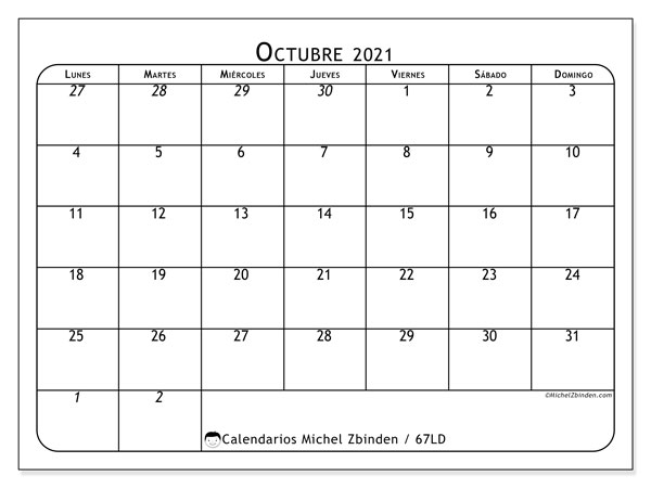 Calendario octubre 2021, 67LD. Calendario para el mes para imprimir gratis.