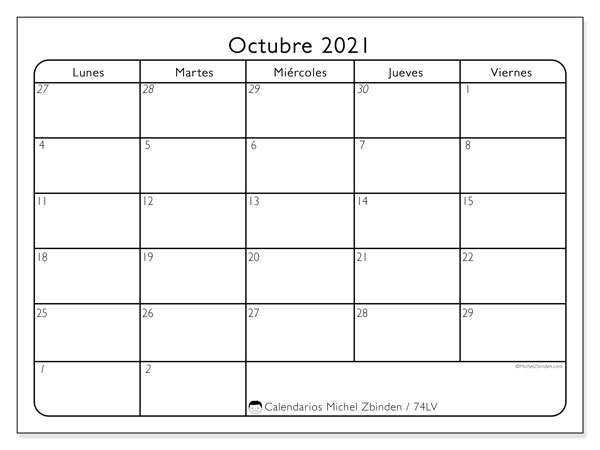 Calendario octubre 2021, 74DS. Calendario imprimible gratis.