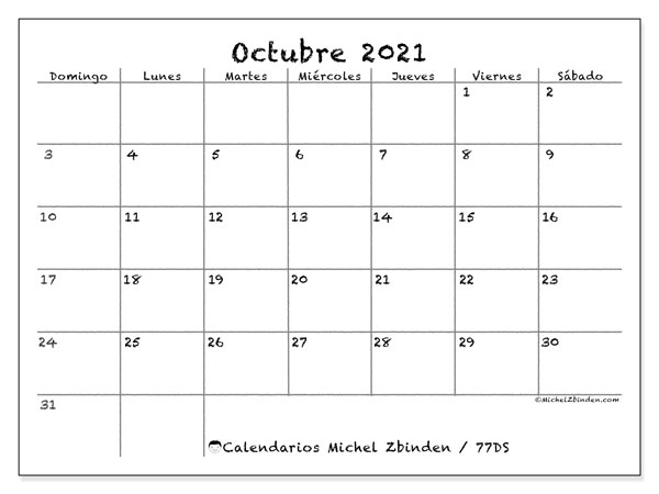 Calendario octubre 2021, 77DS. Calendario imprimible gratis.