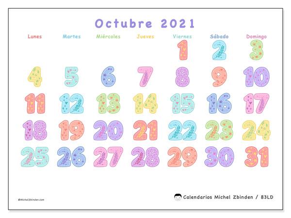 Calendario octubre 2021, 83LD. Calendario imprimible gratis.