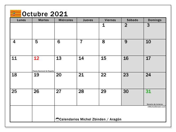 Calendario octubre 2021, con días feriados de Aragón. Calendario vacaciones y festivos para imprimir gratis.