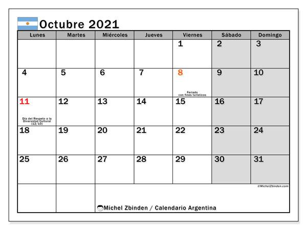 Calendario octubre 2021, con días feriados en Argentina. Calendario vacaciones y festivos para imprimir gratis.