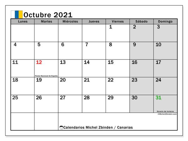 Calendario octubre 2021, con días feriados en las Islas Canarias. Calendario vacaciones y festivos para imprimir gratis.
