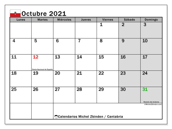 Calendario octubre 2021, con días feriados en Cantabria. Calendario vacaciones y festivos para imprimir gratis.