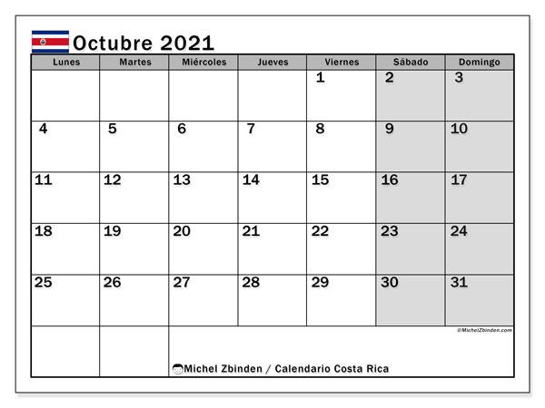 Calendario octubre 2021, con días feriados de Costa Rica. Calendario para imprimir gratis con días festivos.