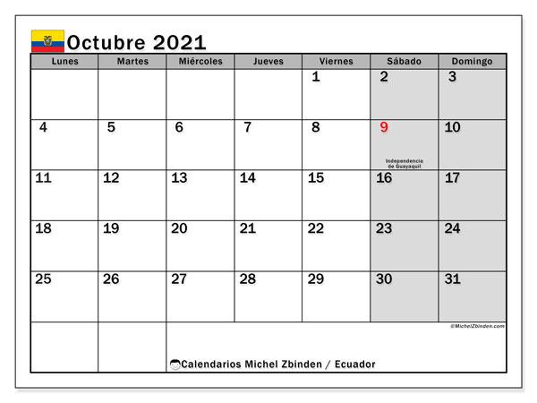 Calendario octubre 2021, con días feriados en Ecuador. Calendario vacaciones y festivos para imprimir gratis.