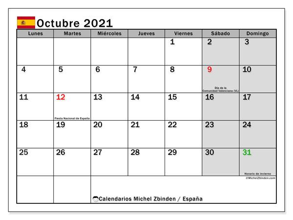 Calendario octubre 2021, con días feriados en España. Calendario vacaciones y festivos para imprimir gratis.