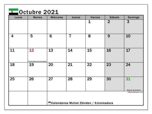 Calendario octubre 2021, con días feriados en Extremadura. Calendario vacaciones y festivos para imprimir gratis.