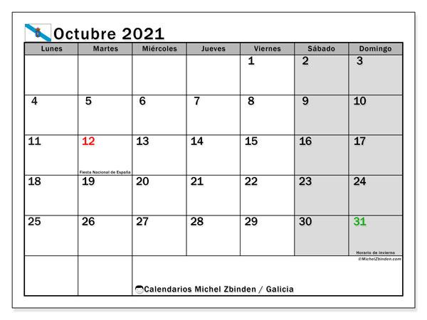 Calendario octubre 2021, con días feriados en Galicia. Calendario para imprimir gratis con días festivos.