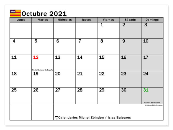 Calendario octubre 2021, con días feriados en las Islas Baleares. Calendario para imprimir gratis con días festivos.