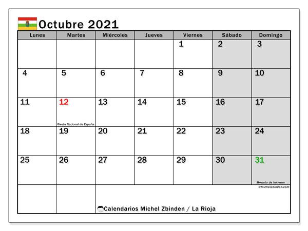Calendario octubre 2021, con días feriados en La Rioja. Calendario vacaciones y festivos para imprimir gratis.
