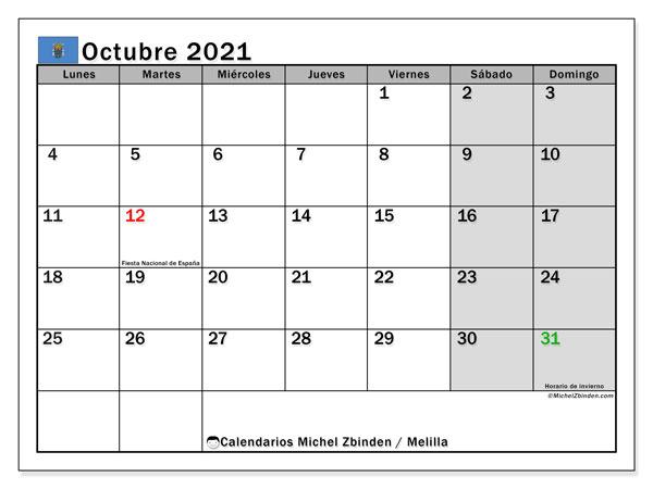 Calendario octubre 2021, con días feriados en Melilla. Calendario vacaciones y festivos para imprimir gratis.