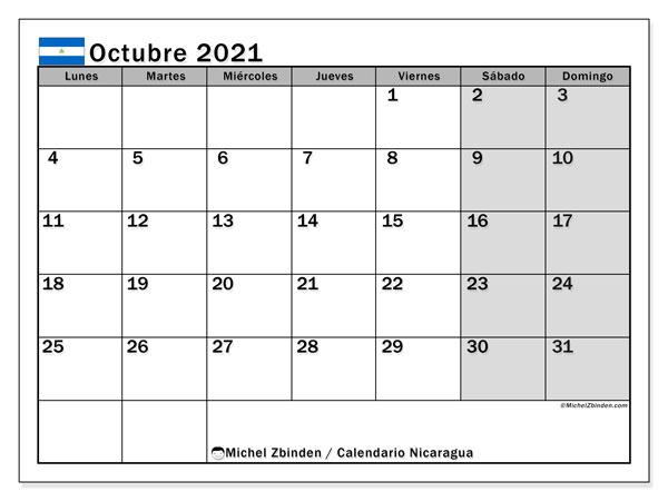 Calendario octubre 2021, con días feriados en Nicaragua. Calendario para imprimir gratis con días festivos.