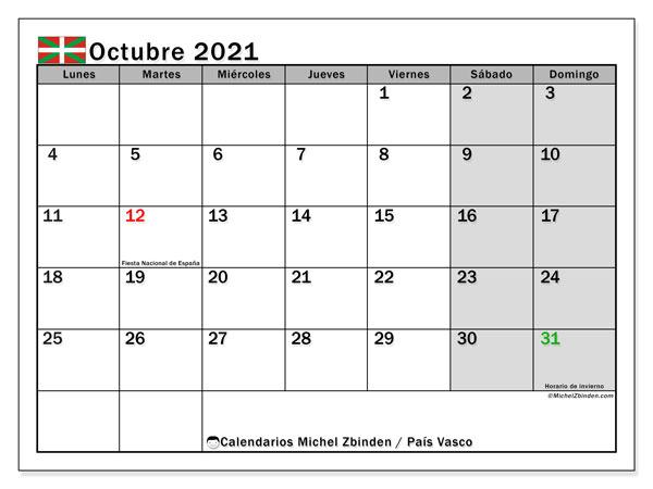 Calendario octubre 2021, con días feriados en el País Vasco. Calendario vacaciones y festivos para imprimir gratis.