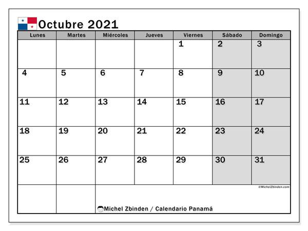 Calendario octubre 2021, con días feriados de Panamá. Calendario vacaciones y festivos para imprimir gratis.