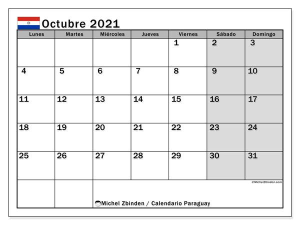 Calendario octubre 2021, con días feriados en Paraguay. Calendario para imprimir gratis con días festivos.