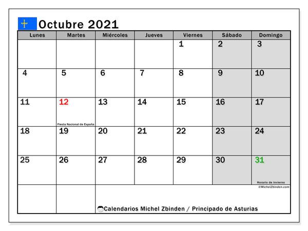 Calendario octubre 2021, con días feriados del Principado de Asturias. Calendario para imprimir gratis con días festivos.