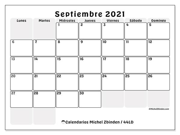Calendario septiembre 2021, 44LD. Almanaque para imprimir gratis.
