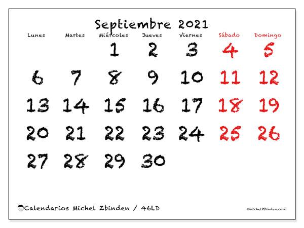 Calendario septiembre 2021, 46LD. Calendario imprimible gratis.