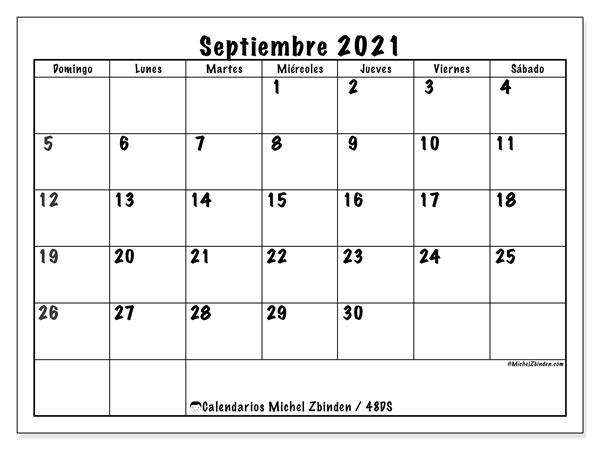 """Calendario """"48DS"""" septiembre de 2021 para imprimir   Michel Zbinden ES"""
