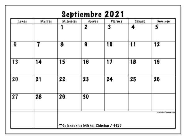 "Calendario ""48LD"" septiembre de 2021 para imprimir   Michel Zbinden ES"