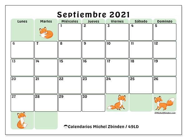 Calendario septiembre 2021, 49LD. Calendario imprimible gratis.