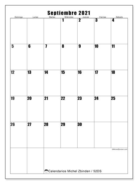 Calendario septiembre 2021, 52DS. Calendario mensual para imprimir gratis.
