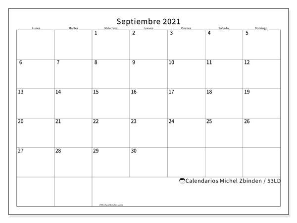 Calendario septiembre 2021, 53LD. Calendario imprimible gratis.