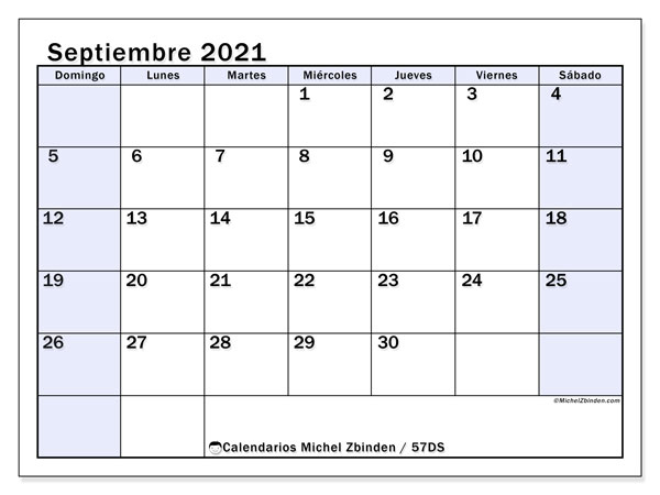 Calendario septiembre 2021, 57DS. Almanaque para imprimir gratis.