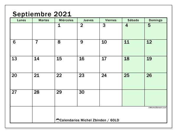 Calendario septiembre 2021, 60LD. Almanaque para imprimir gratis.