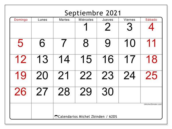Calendario septiembre 2021, 62DS. Almanaque para imprimir gratis.