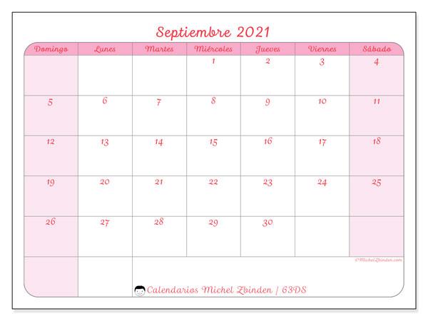 Calendario septiembre 2021, 63DS. Calendario imprimible gratis.