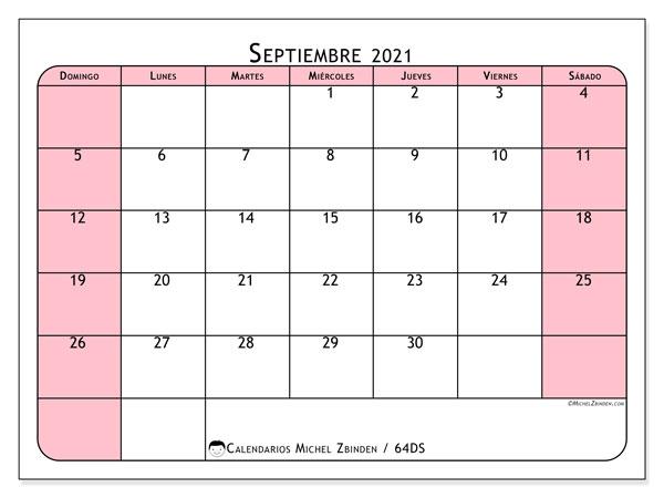 Calendario septiembre 2021, 64DS. Calendario gratuito para imprimir.