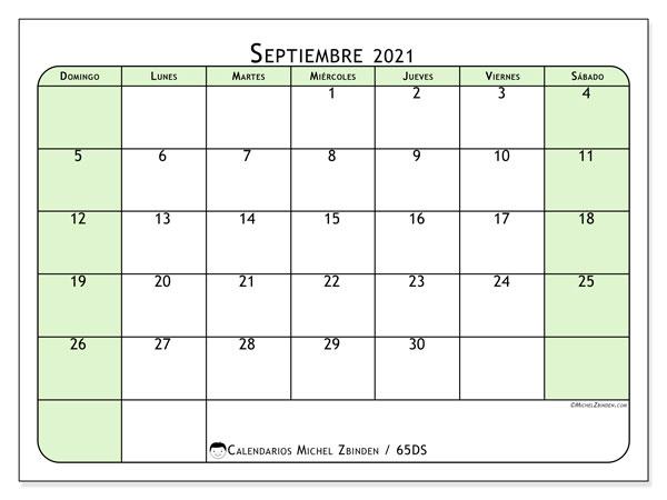 Calendario septiembre 2021, 65DS. Almanaque para imprimir gratis.