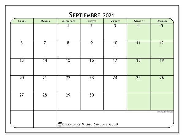 Calendario septiembre 2021, 65LD. Calendario para imprimir gratis.
