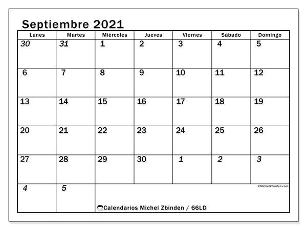 Calendario septiembre 2021, 66LD. Calendario mensual para imprimir gratis.