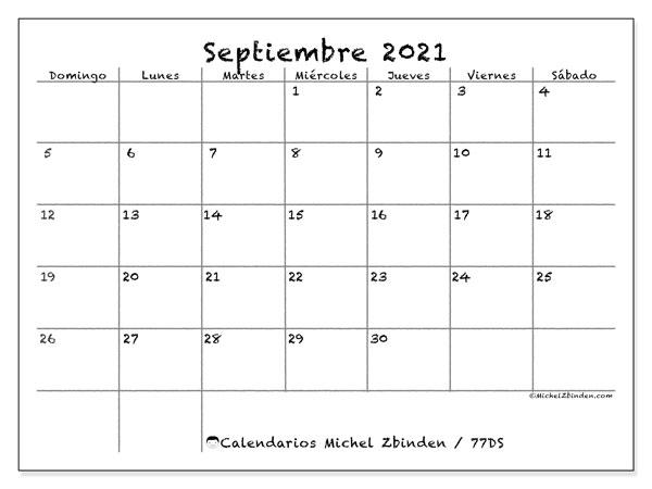 Calendario septiembre 2021, 77DS. Calendario para imprimir gratis.