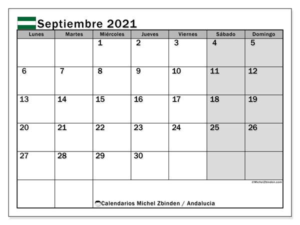 Calendario septiembre 2021, con días feriados en Andalucía. Calendario vacaciones y festivos para imprimir gratis.