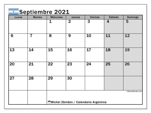 Calendario septiembre 2021, con días feriados en Argentina. Calendario para imprimir gratis con días festivos.