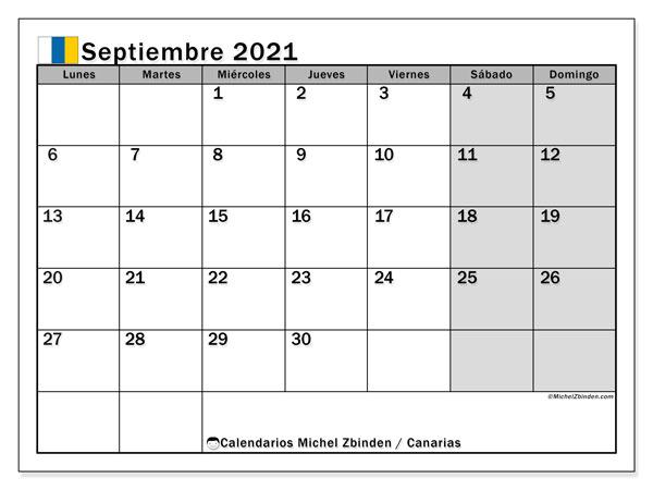 Calendario septiembre 2021, con días feriados en las Islas Canarias. Calendario vacaciones y festivos para imprimir gratis.