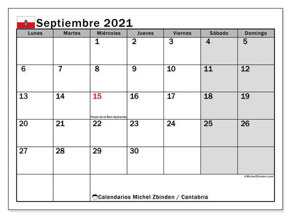 Calendario septiembre 2021, con días feriados en Cantabria. Calendario vacaciones y festivos para imprimir gratis.