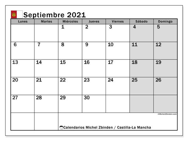 Calendario septiembre 2021, con días feriados en Castilla-La Mancha. Calendario vacaciones y festivos para imprimir gratis.